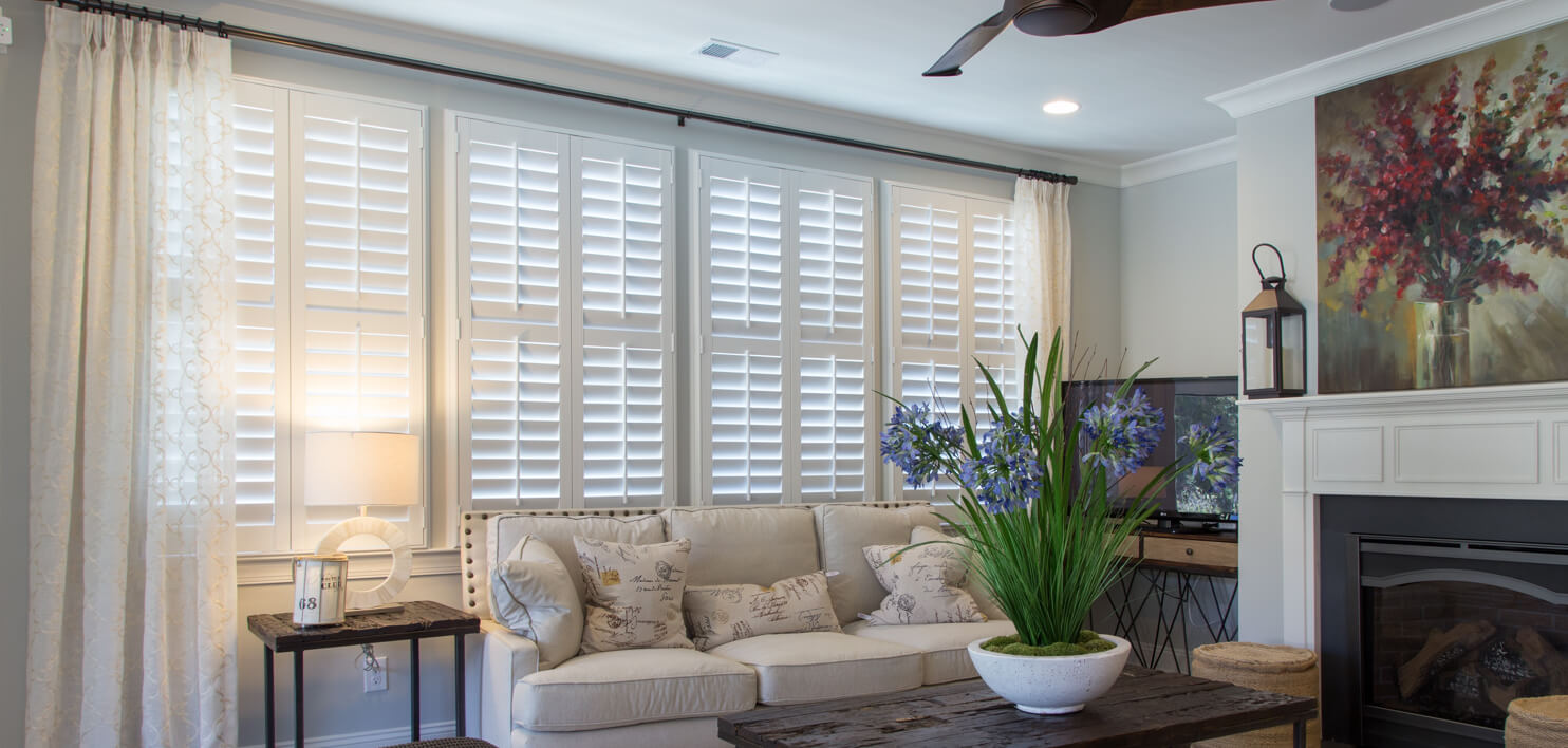 Planation shutters in a living room