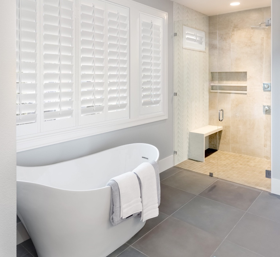 Plantation shutters in modern bathroom