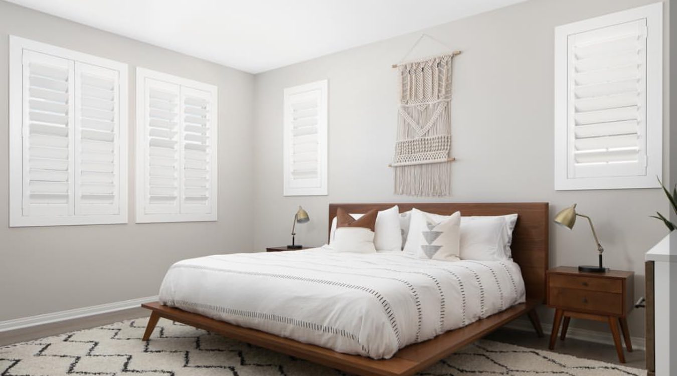 Western bedroom with plantation shutters