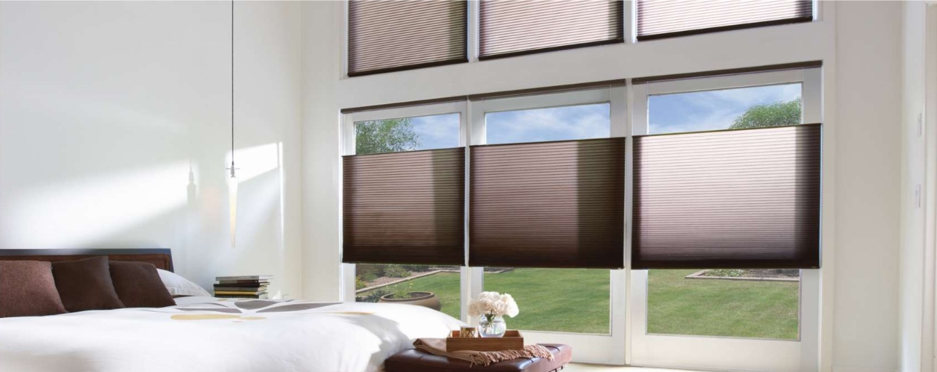 Cellular shades in bedroom