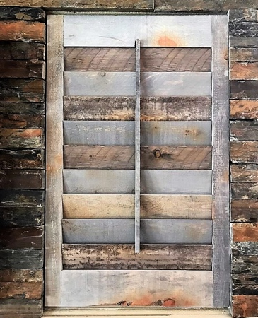 Reclaimed wood plantation shutters