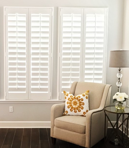 Plantation shutters in a corner window
