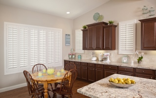 Custom made shutters in a kitchen