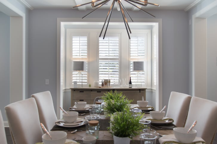 Plantation shutters in a dining room