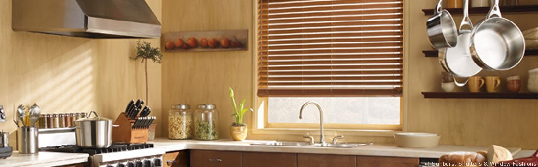 Hardwood plantation shutters in a kitchen