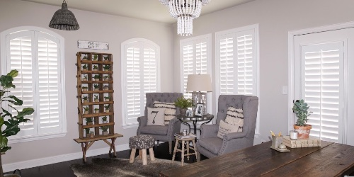 Plantation shutters in a cozy room