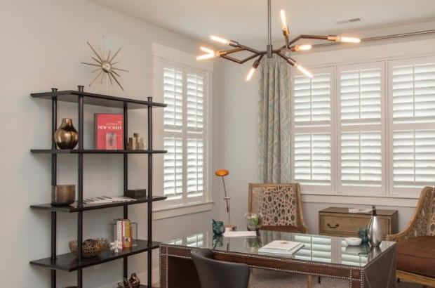 Plantation shutters in a home office