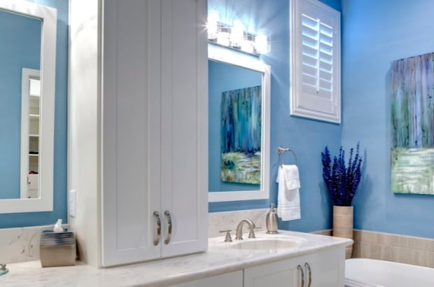 Bathroom with blue walls