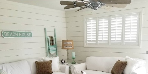 Plantation shutters in a beach house
