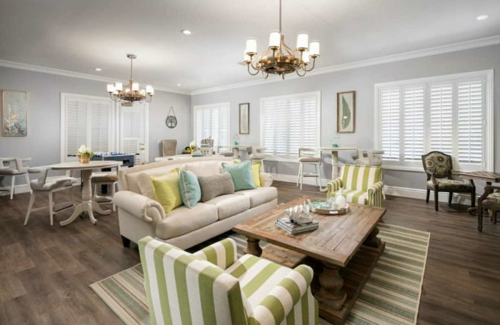 Plantation shutters in a family room