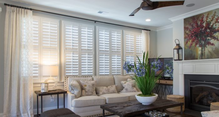 Plantation shutters in a living room