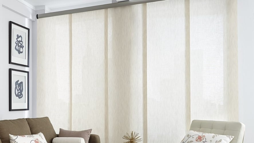 Roller shades in a living room
