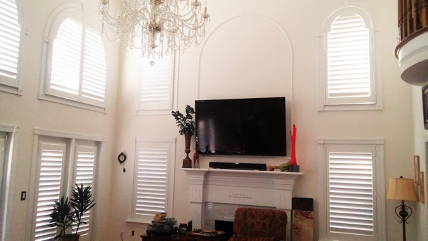 Arched shutters in a great room