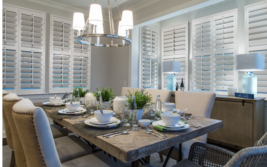 Interior shutters in a dining room