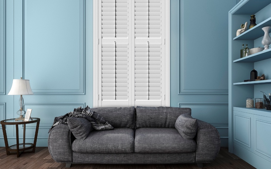 Polywood shutters in a blue room