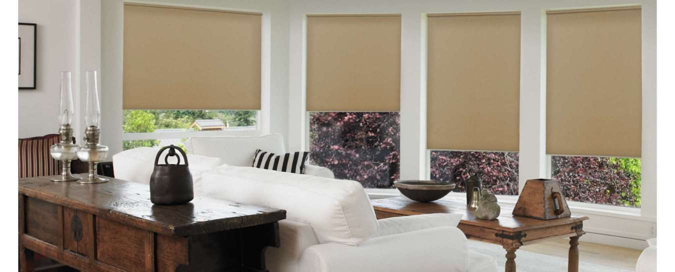 Roller shades in family room