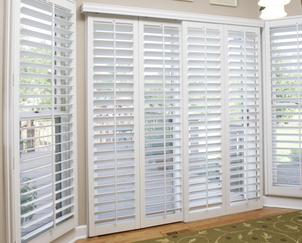 Sliding doors with plantation shutters