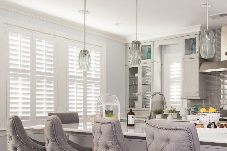 White plantation shutters in a kitchen