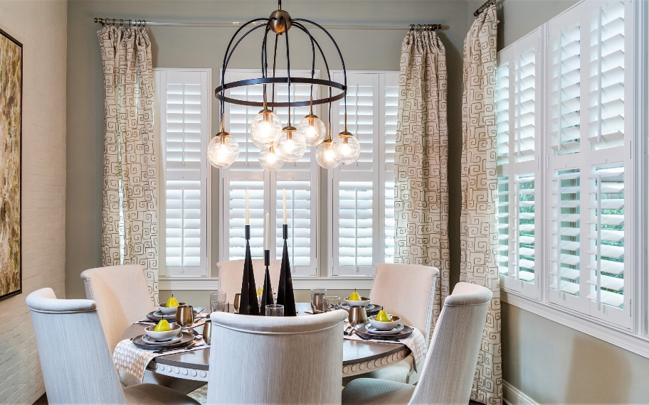 Polywood shutters in dining room