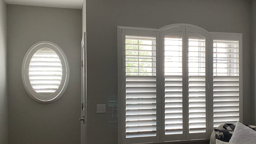 Plantation shutters on circular windows