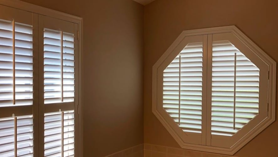 Plantation shutters on an octagon window
