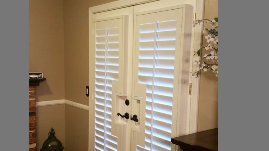 Plantation shutters on french doors